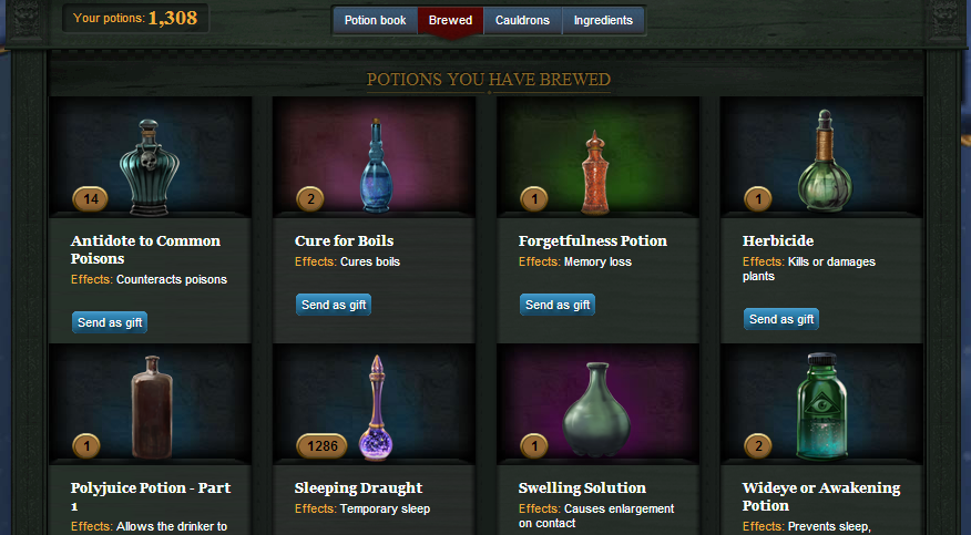 Glimpse of my Pottermore potions cabinet